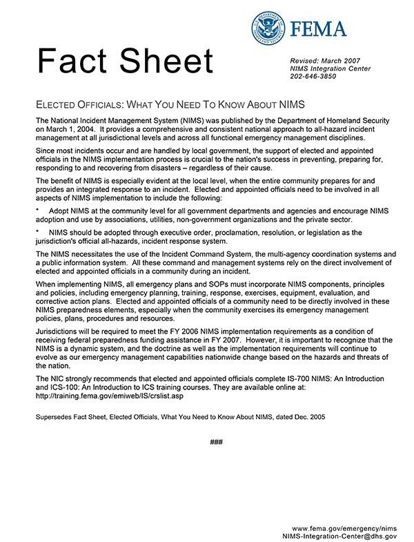 NIMS FEMA FactSheet